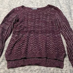 Maroon purple with silver laced in sweater knitted
